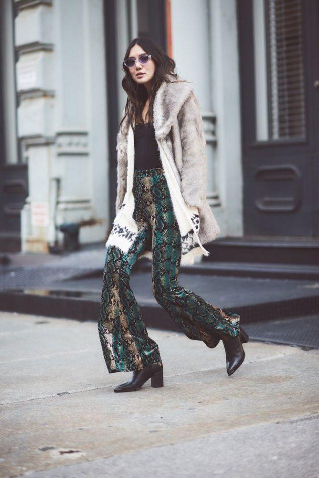 Dylana Suarez wears snakeskin pants