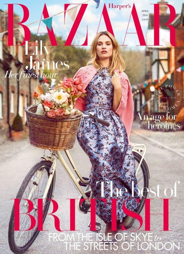 UK Harper's Bazaar April 2018 : Lily James by Richard Phibbs
