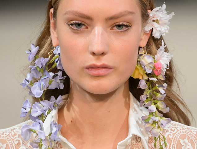 Floral earrings on the Alexis Mabille Spring 2018 runway