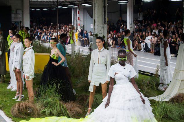 Models at Off-White Spring 2019.