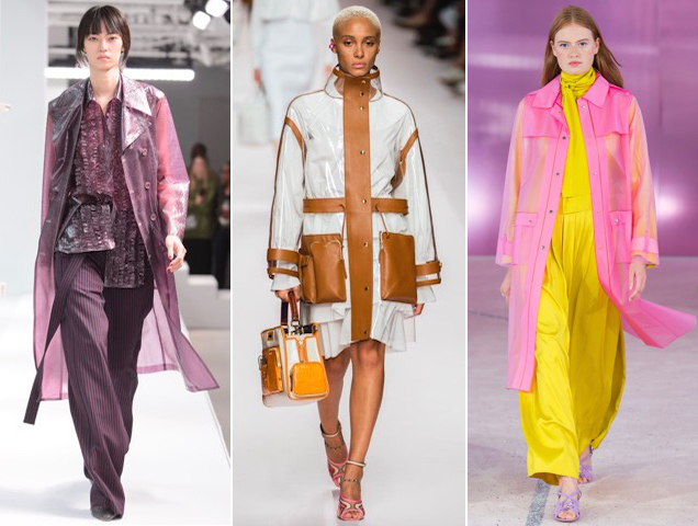 Transparent raincoats proved popular on the Spring 2019 runways.