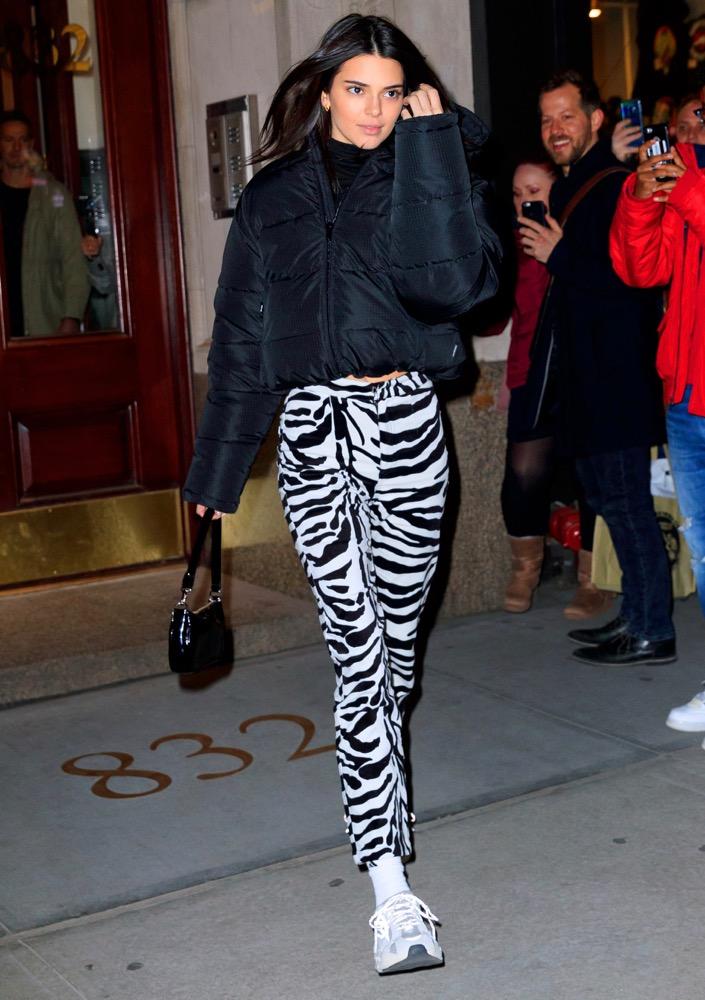 Kendall Jenner rocking zebra print pants back in February.
