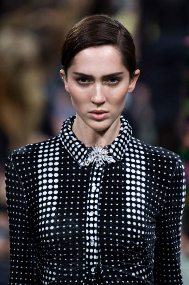 Teddy Quinlivan on the Paco Rabanne Fall 2019 runway.