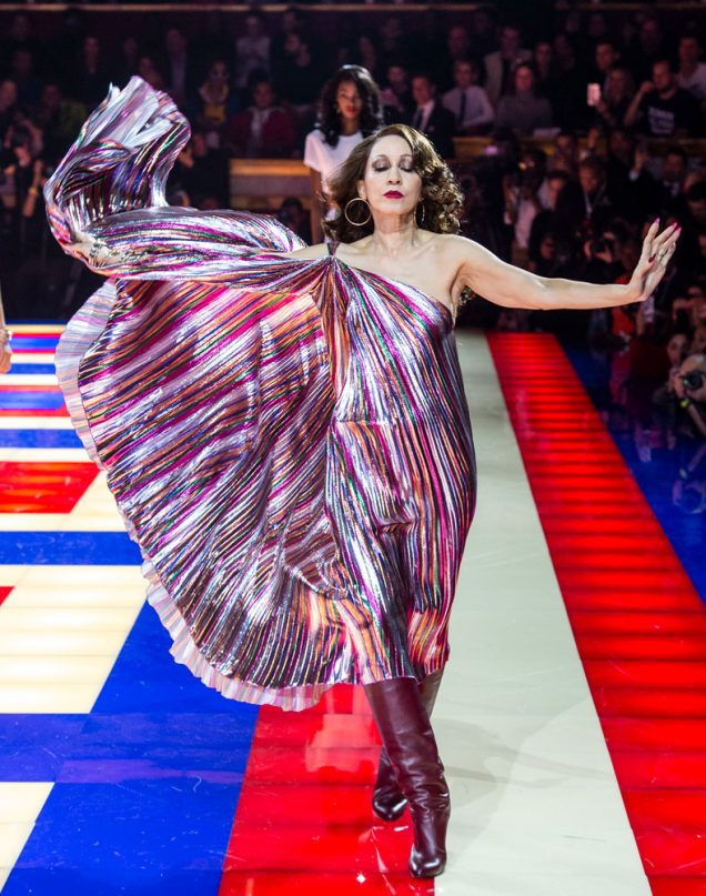 Pat Cleveland on the runway of the TommyNow show in Paris.