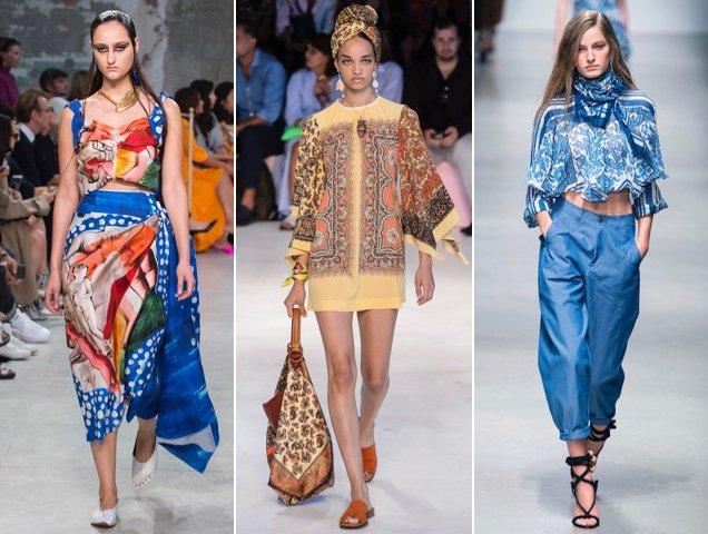 Silky scarf-printed pieces dominated the Spring 2019 runways.