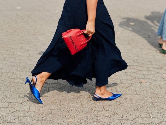Micro heels on the street.