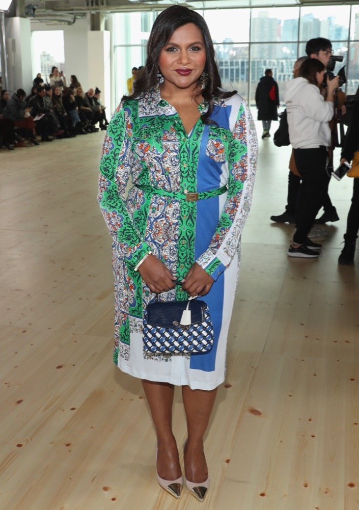 Mindy Kaling attends the Tory Burch Fall 2019 show.