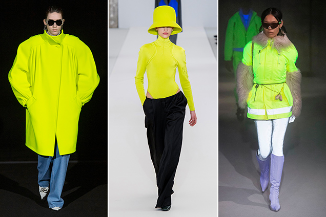 Highlighter-bright chartreuse pieces popped up in Balenciaga, Nina Ricci and Marine Serre's Fall 2019 collections.