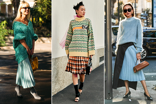 Street style stars make a strong case for pleated midi skirts.