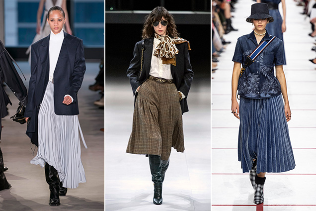Pleated midi skirts at Proenza Schouler, Celine and Christian Dior Fall 2019.