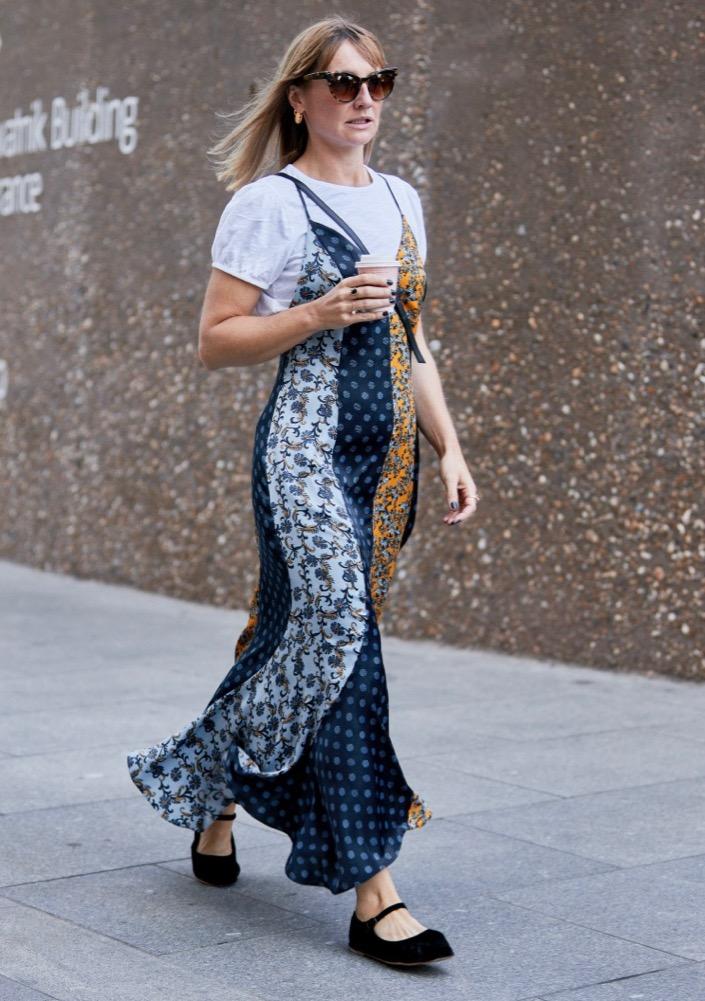 Patchwork Slip Dress Street Style