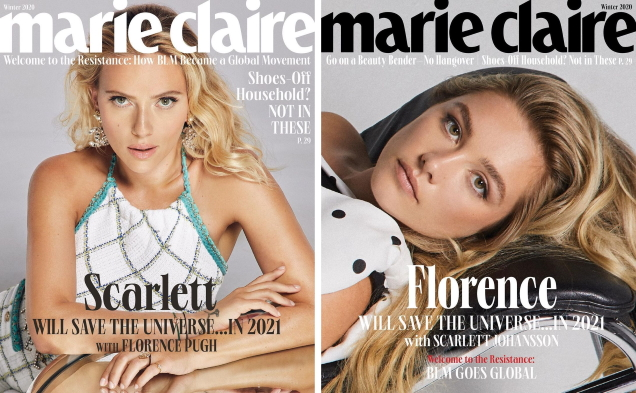 US Marie Claire Winter 2020 : Scarlett Johansson & Florence Pugh by Quentin Jones