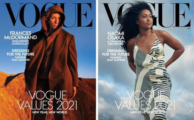 US Vogue January 2021 : The 'Vogue Values' of 2021 by Annie Leibovitz